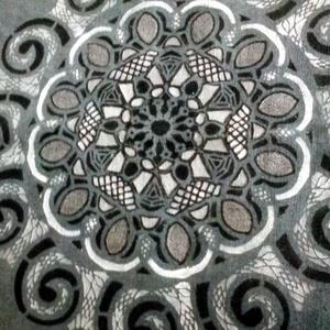 Mandala vászon táska, Táska, Divat & Szépség, Táska, Festészet, Szövés, Mandala motívum energiával feltöltött szürke alapon házi szöttes vászon.\nKézzel készített : festett...., Meska