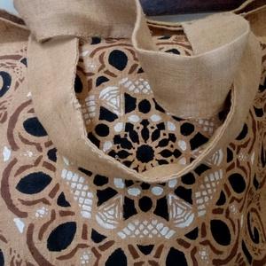 Mandala vászon táska, Táska, Divat & Szépség, Táska, Festészet, Szövés, Mandala motívum energiával feltöltött barnás drapp alapon házi szöttes vászon.\nKézzel készített : fe..., Meska