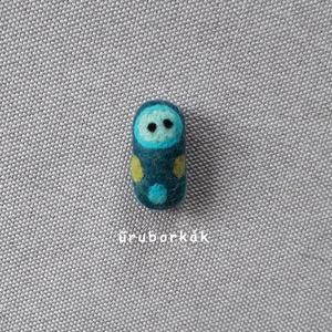 Ubibaba - kék, Szörnyike, Plüssállat & Játékfigura, Játék & Gyerek, Nemezelés, \nTűnemezeléssel, festett gyapjúból készítettem ezt az édes babucit. Mérete aprócska, 4 cm. Így könny..., Meska