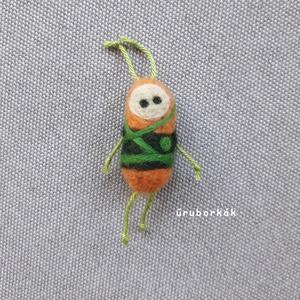 Bocó űruborka, Szörnyike, Plüssállat & Játékfigura, Játék & Gyerek, Nemezelés, Tűnemezeléssel, festett gyapjúból készítettem ezt a vidám kislegényt.Testének mérete aprócska 4 cm, ..., Meska