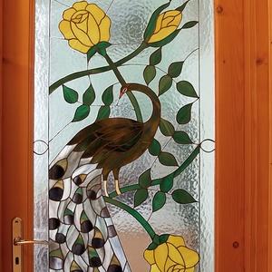 Tiffany beltéri ajtóüveg, Dekoráció, Otthon & lakás, Dísz, Lakberendezés, Képzőművészet, Üvegművészet, Pávás beltéri ajtóüveg, egyedi terv alapján készült, \n\nMérete: 60x122 cm \n\nzsűrizett termék..., Meska
