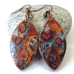 Nemes rozsda  -  hosszú fülbevaló, polymer clay fülbevaló (uveggyongyjatek) - Meska.hu