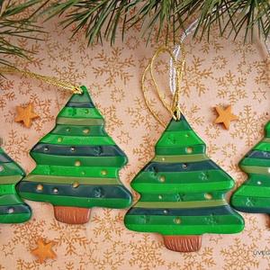 Csíkos karácsonyfa csomag -  ajándékkísérő, dekoráció, dísz, Karácsony & Mikulás, Karácsonyi dekoráció, Kiégethető gyurmából - ezért nem törnek össze, ha lepottyannának az ünnepi sürgés-forgásban :) - kés..., Meska