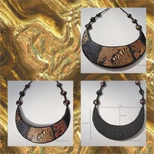 Metál éjszaka  -  nyaklánc, nyakék, fekete arany nyaklánc, polymer clay nyaklánc (uveggyongyjatek) - Meska.hu