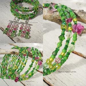 Tavasz a réten  -  memória karkötő, zöld karkötő, virágos karkötő (uveggyongyjatek) - Meska.hu
