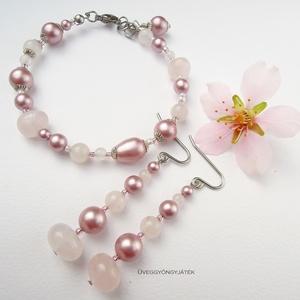 Mandulavirág  -  karkötő Swarovski gyönggyel, ásvány karkötő, rózsaszín karkötő (uveggyongyjatek) - Meska.hu