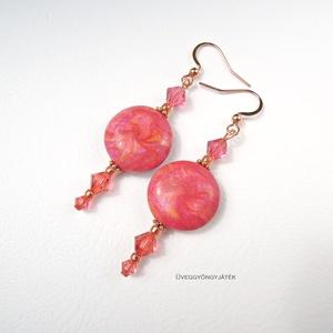 Lótuszvirág  -  pink fülbevaló, Swarovski fülbevaló, lógós fülbevaló (uveggyongyjatek) - Meska.hu