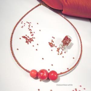 Tűzgömb  -  minimál nyaklánc, rövid nyaklánc (uveggyongyjatek) - Meska.hu