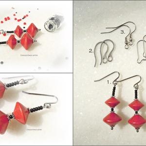 Piros tűz  -  piros fekete fülbevaló, hosszú fülbevaló, lógós fülbevaló (uveggyongyjatek) - Meska.hu