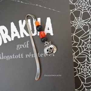 Könyvjelző rémtörténetekhez  -  halloween, fekete narancssárga könyvjelző (uveggyongyjatek) - Meska.hu