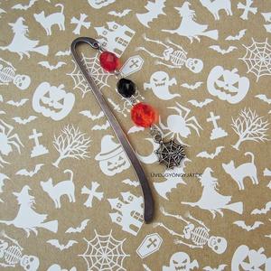 Könyvjelző rémtörténetekhez  -  piros fekete narancssárga üveggyöngy, pók, pókháló (uveggyongyjatek) - Meska.hu