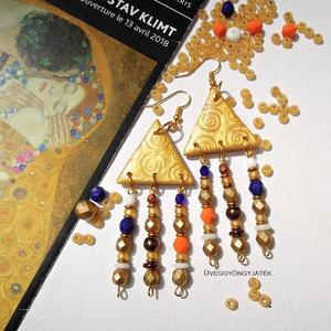 """Színes \""""arany\"""" fülbevaló - hosszú fülbevaló, lógó fülbevaló, Klimt inspiráció , Ékszer, Fülbevaló, Csillár fülbevaló, Ékszerkészítés, Gyöngyfűzés, gyöngyhímzés, Gustav Klimt arany festményei ihlették ezt a fülbevalót.\nArany színű süthető gyurmából formáztam a h..., Meska"""