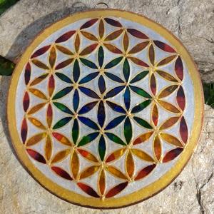 Az élet virága mandala, Otthon & Lakás, Dekoráció, Üvegművészet, Egy nagy klasszikus! Az örök, a teljes: az Élet virága.\nA világ egyik legősibb és legerősebb szimból..., Meska
