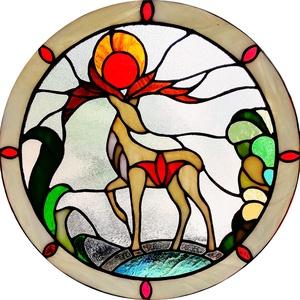 Csodaszarvas - ólomüveg, Otthon & lakás, Dekoráció, Lakberendezés, Képzőművészet, Üvegművészet, A szarvas, mint szimbólum a magyar nép egyik lélek vezető állata.  \nAmióta az emberiség létezik a sz..., Meska
