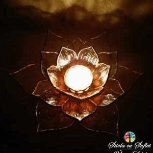 Lelki tisztaság virága - ólomüveg gyertyatartó, Otthon & lakás, Dekoráció, Lakberendezés, Gyertya, mécses, gyertyatartó, Asztaldísz, Üvegművészet, A buddhizmus meghatározó virágszimbóluma a lótusz, ami képes reggelente a sötét, sáros vízből tökéle..., Meska