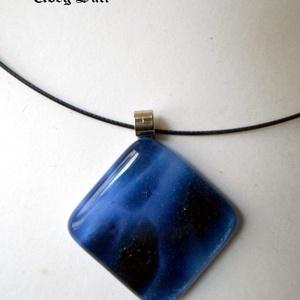 Kék famer gyűrű és fülbevaló  üvegékszer (UvegSuti) - Meska.hu