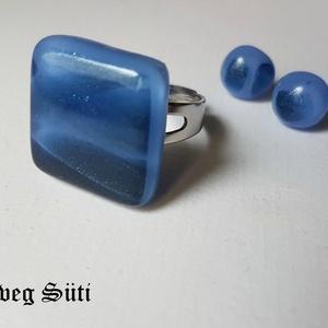 Kék famer gyűrű és fülbevaló  üvegékszer, Ékszer, Ékszerszett, Üvegművészet, Ékszerkészítés, Kék csillogó mintás és levendulakék   üveg felhasználásával készült a gyűrű fülbevaló olvasztásos te..., Meska