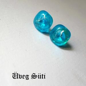 Kék villám csillogó  fülbevaló üvegékszer, Ékszer, Fülbevaló, Táska, Divat & Szépség, Üvegművészet, Ékszerkészítés, Tengerkék katedrál üveg és csillogó különleges ékszerüveg felhasználásával készült  a  fülbevaló olv..., Meska