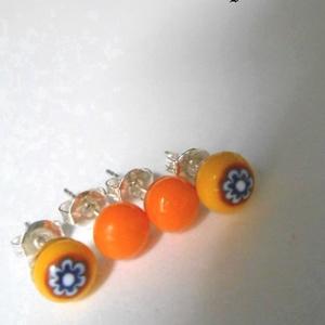 sárga virágos és narancssárga fülbevaló csomag üvegékszer, Ékszer, Fülbevaló, Pötty fülbevaló, Üvegművészet, Ékszerkészítés, Napsárga üveg és narancssárga  színes üvegek és  millefiori virágok  felhasználásával készült olvasz..., Meska