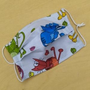 Gyermek méretű 2 rétegű mosható szájmaszk  , NoWaste, Textilek, Kendő, Varrás, Mosható, vasalható, többször felhasználható kétrétegű szájmaszk, fülnél csomózott gumival lehet egyé..., Meska
