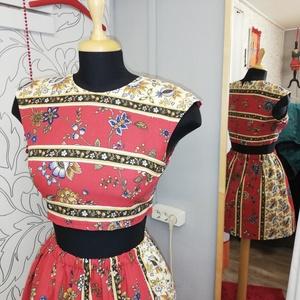 Piros spanyol ruha tavaszra, Táska, Divat & Szépség, Női ruha, Ruha, divat, Estélyi ruha, Ruha, Varrás, Készítettem egy két részes virágmintás ruhát.\nAz anyagot még Spanyolországból kaptam. \nMéretei. Mell..., Meska