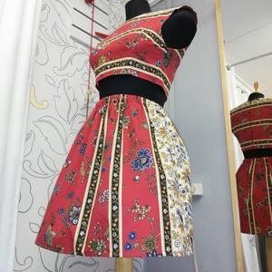 Piros spanyol ruha , Ruha, Női ruha, Ruha & Divat, Varrás, Készítettem egy két részes virágmintás ruhát.\nAz anyagot még Spanyolországból kaptam. \nMéretei. Mell..., Meska