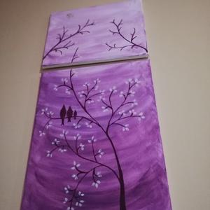 Árnyas madarak, Akril, Festmény, Művészet, Festészet, Készítettem egy akril festmenyt, három madárkát ábrázol, kínai cseresznyefán.\nKettő képből áll. \nLil..., Meska
