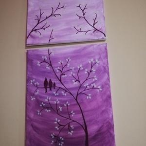 Árnyas madarak, Otthon & lakás, Képzőművészet, Festmény, Akril, Festészet, Készítettem egy akril festmenyt, három madárkát ábrázol, kínai cseresznyefán.\nKettő képből áll. \nLil..., Meska