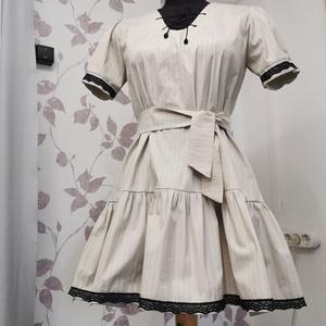 Puplin ruha tavaszra, Ruha & Divat, Női ruha, Alkalmi ruha & Estélyi ruha, Varrás, Készítettem, puplin csíkos anyagból egy most divatos húzott aljú, ujjú ruhát.\nFekete csipkével díszí..., Meska
