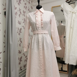 Rózsaszín ingruha virágos kockás, Ruha & Divat, Női ruha, Alkalmi ruha & Estélyi ruha, Varrás, Készítettem egy pamutvászon pasztell rózsaszín színű ruhát. \nMintája virágos, és hozzá passzoló kock..., Meska