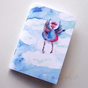 Felhőtündér füzet, Naptár, képeslap, album, Otthon & lakás, Jegyzetfüzet, napló, Festett tárgyak, A füzet borítója egy festményem másolata. Az eredeti akvarellfestmény saját szellemi termékem. Egy k..., Meska