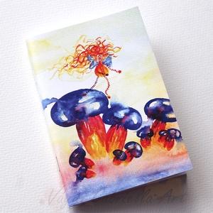 Színes gombákon táncoló tündér füzet, Naptár, képeslap, album, Otthon & lakás, Jegyzetfüzet, napló, Festett tárgyak, A füzet borítója egy festményem másolata. Az eredeti akvarellfestmény saját szellemi termékem. A füz..., Meska