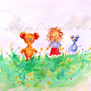 Séta hármasban a tavaszi réten művészi nyomat, Képzőművészet, Otthon & lakás, Gyerek & játék, Gyerekszoba, Festmény, Festészet, Tavaszi idillt ábrázol a kép, amint a virágzó mezőn sétál a három jó barát: a göndör fürtös kislány,..., Meska