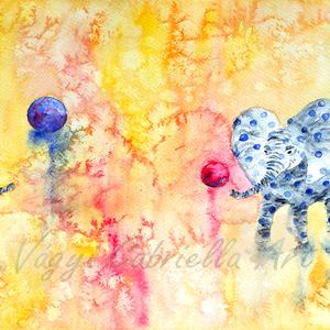 Falikép - Labdázó pöttyös elefántok című művészi nyomat, Lakberendezés, Otthon & lakás, Falikép, Képzőművészet, Festmény, Festészet, Erre a bohókás képre két kék pöttyös elefántot festettem, akik éppen labdáznak egymással. A sárga-ci..., Meska