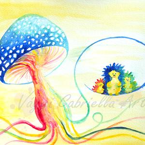 Falikép - Gombafonálon hintázó sünik című művészi nyomat, Képzőművészet, Otthon & lakás, Festmény, Akvarell, Illusztráció, Festészet, Ezen a képen egy kedves sünicsaládot festettem meg, mely egy kék, fehér pöttyös kalpagú gomba fonalá..., Meska