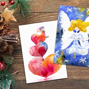 Karácsonyi képeslap / ajándékkísérő csomag - 6 db-os, Karácsony & Mikulás, Karácsonyi képeslap, Festészet, A képeslapjaimon általam készített illusztrációk, képek másolata található. Az eredeti képek akvarel..., Meska