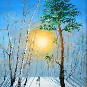 Téli séta - festmény (vajdaaliz) - Meska.hu