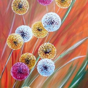 Virágok - festmény, Képzőművészet, Otthon & lakás, Festmény, Akril, Lakberendezés, Festészet, Akril festmény feszített vásznon, mérete: 25 x 58 cm.\n2018.\nSzignózva és eredetigazolással.\n\nKeretez..., Meska
