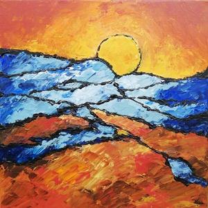 Absztrakt - festmény, Művészet, Akril, Festmény, Modern akril festmény feszített vásznon, mérete: 40 x 40 cm. 2018. Szignózva és eredetigazolással.  ..., Meska