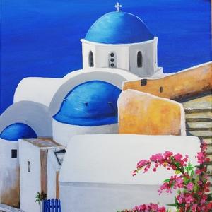Santorini - festmény, Művészet, Akril, Festmény, Akril festmény feszített vásznon, mérete: 58 x 25 cm. 2018. Szignózva és eredetigazolással.  Keretez..., Meska