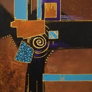 Ünnepi csillogás - festmény, Művészet, Akril, Festmény, Akril, absztrakt festmény feszített vásznon, mérete: 40 x 30 cm. 2019/7.  Oldala is festett.       ..., Meska