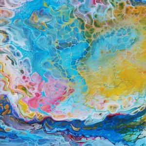 Fluid akril festmény, Otthon & lakás, Képzőművészet, Festmény, Akril, Lakberendezés, Festészet, Fluid technikával készült, (folyatásos festés) akril festmény, kasírozott vásznon.\nMérete: 40 x 30 c..., Meska