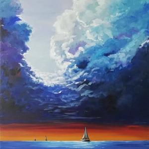 Hajóval a tengeren, Otthon & lakás, Képzőművészet, Festmény, Akril, Lakberendezés, Festészet, Nagy méretű akril festmény feszített vásznon, mérete: 60 x 40 cm.\n2019.\nSzignózva és eredetigazoláss..., Meska