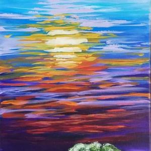Akril festmény, Otthon & lakás, Képzőművészet, Festmény, Akril, Lakberendezés, Festészet, Akril festmény feszített vásznon, mérete: 25 x 58 cm.\n2019.\nSzignózva és eredetigazolással.\n\nKeretez..., Meska