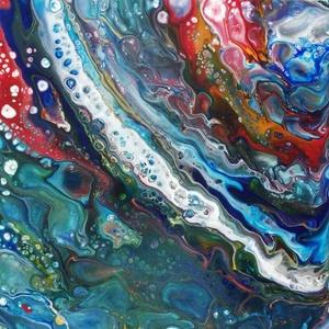 Fluid akril festmény, Otthon & lakás, Képzőművészet, Festmény, Akril, Lakberendezés, Festészet, Fluid technikával készült, (folyatásos festés) akril festmény, feszített vásznon.\nSzélei is festve v..., Meska