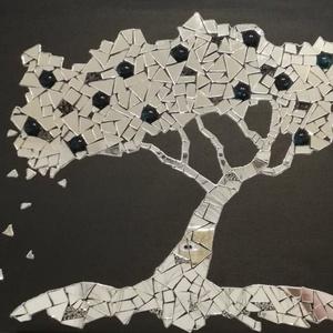 Tükör-fa, Dísztárgy, Dekoráció, Otthon & Lakás, Mozaik, Festészet, Feszített vászonra készült, tükör mozaik.\nMérete: 40 x 50 cm\nFeketére festett vászon alapra készült ..., Meska