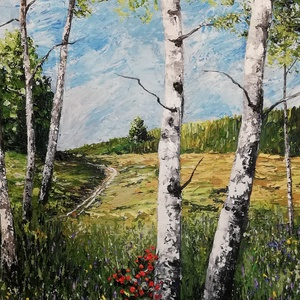 Nyírfák alatt, Akril, Festmény, Művészet, Festészet, Nagy méretű akril festmény feszített vásznon, mérete: 70 x 50 cm.\nFestőkéssel festett, több rétegben..., Meska