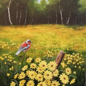 Virágzó tisztás - festmény, Akril, Festmény, Művészet, Festészet, Akril festmény feszített vásznon, mérete: 70 x 50 cm.\n\nSzignózva és eredetigazolással.\nTávolban az e..., Meska