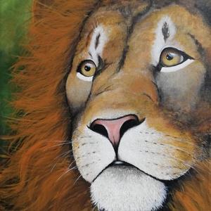 Oroszlán, Művészet, Akril, Festmény, Akril festmény feszített vásznon, mérete: 60 x 40 cm. 2020. Szignózva és eredetigazolással.  Keretez..., Meska