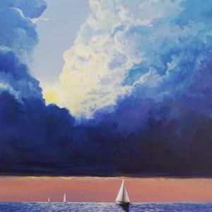 Napnyugta a tengeren, Művészet, Akril, Festmény,  Akril festmény feszített vásznon, mérete: 60 x 40 cm. 2020.08. Szignózva és eredetigazolással. Kere..., Meska